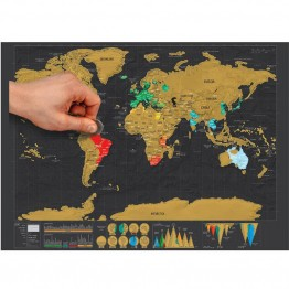 Deluxe Scratch Off Foil Travelers Map - Must Have For Serious Travelers