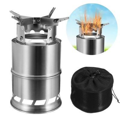 Ultra-Portable Wood Burning Camping Stove Uses Multi-Fuels32839771454